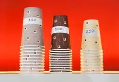 Assorted sizes of milkshake cups Stock Photo
