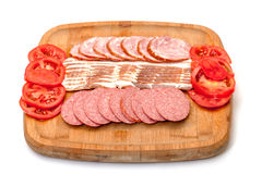Assorted Slice Sausage, Bacon and Tomato Royalty Free Stock Photos