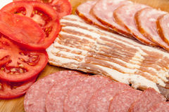 Assorted Slice Sausage, Bacon and Tomato Royalty Free Stock Image