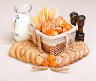 Assorted sliced bakery products Stock Photos