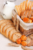 Assorted sliced bakery products Stock Images
