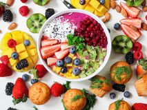 Assorted Sliced Fruits in White Ceramic Bowl Royalty Free Stock Images