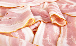 Assorted slices of fat pink bacon Stock Photography