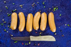 Assorted smoked and cured spicy sausages Royalty Free Stock Photos