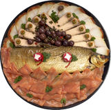 Assorted Smoked Fish Platter. Assorted Smoked Fish Party Platter Royalty Free Stock Images