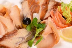 The assorted smoked fish Stock Images