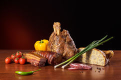 Assorted smoked meat products stock photos