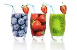 Assorted smoothies. Different flavoured fruit smoothies including kiwi strawberry and blueberry royalty free stock image