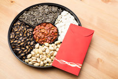 Assorted Snack box and red pocket for Lunar new year Royalty Free Stock Photos
