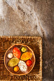 Assorted soft cream cheese goat on stone background Royalty Free Stock Photos