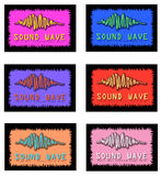 Assorted Sound Wave Logo Designs. Six different logos with sound waves and words for logos or slogans Stock Images