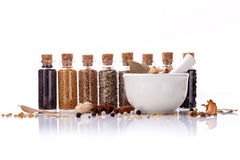 Assorted of spice bottles condiment . Stock Image