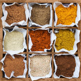 Assorted spice powder in a wooden box Royalty Free Stock Photography