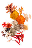 Assorted of spices black pepper ,white pepper,fenugreek,cumin ,b Royalty Free Stock Photo