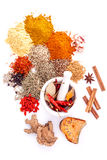 Assorted of spices black pepper ,white pepper,fenugreek,cumin ,b Stock Photo