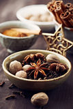Assorted spices for christmas baking royalty free stock photography