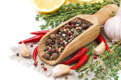 Assorted spices - fresh and dried peppers, garlic, thyme Stock Photo