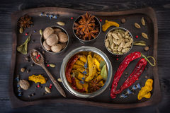 Assorted spices and herbs Stock Photo
