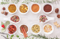 Assorted spices and herbs Royalty Free Stock Photos