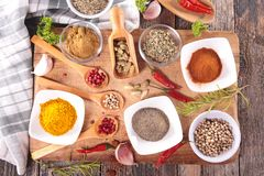 Assorted spices and herbs Stock Images