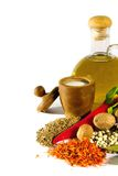 Assorted spices and olive oil Stock Photos