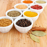 Assorted spices with pepper in the foreground Stock Photos