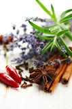 Assorted spices,rosemary and lavender flowers Stock Photo