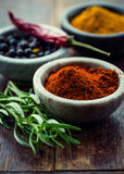 Assorted spices in small containers Royalty Free Stock Photo