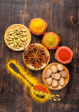 Assorted spices. Spice over Wood. Stock Image