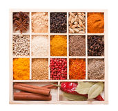 Various spices in the wooden box Stock Images