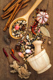 Assorted of spices  in wooden spoon  black pepper ,white pepper, Stock Photos