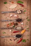 Assorted of spices  in wooden spoon  black pepper ,white pepper, Royalty Free Stock Photos