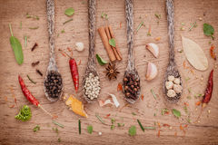 Assorted of spices  in wooden spoon  black pepper ,white pepper, Stock Photo