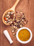 Assorted of spices  in wooden spoon  black pepper ,white pepper, Stock Image