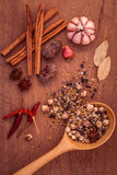 Assorted of spices  in wooden spoon  black pepper ,white pepper, Stock Images