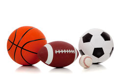 Assorted sports balls on white Royalty Free Stock Images