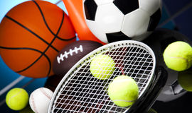 Assorted sports equipment Stock Images
