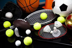 Assorted sports equipment Stock Image