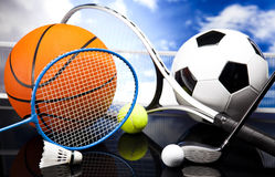 Assorted sports equipment Royalty Free Stock Images