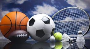 Assorted sports equipment Stock Photo
