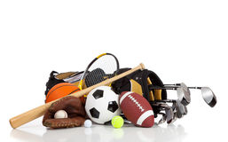 Assorted sports equipment on a white background Royalty Free Stock Image