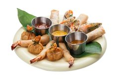 Assorted spring rolls stock photos