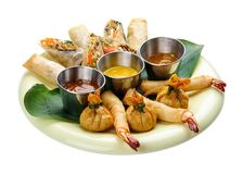 Assorted spring rolls stock images