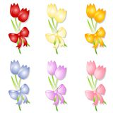Assorted Spring Tulips With Bows. A clip art illustration featuring a variety of individual isolated tulips in red, yellow, blue, purple and orange tied with Stock Photo