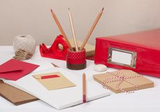 Assorted Stationery Items On Desk.  royalty free stock photography