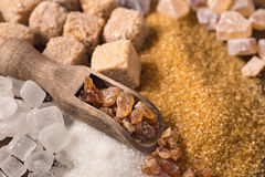 Assorted sugar and scoop Royalty Free Stock Photo