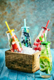 Assorted summer fruit drinks on display Stock Photography