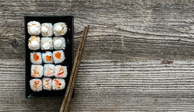 Assorted sushi on black plate Stock Image