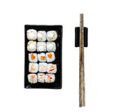 Assorted sushi on black plate Stock Images