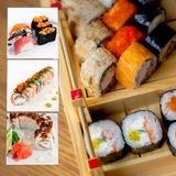 Assorted sushi collage photo set Stock Image